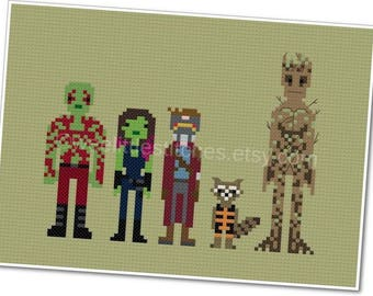 Guardians of the Galaxy - Pixel People - PDF Cross-stitch Pattern - INSTANT DOWNLOAD