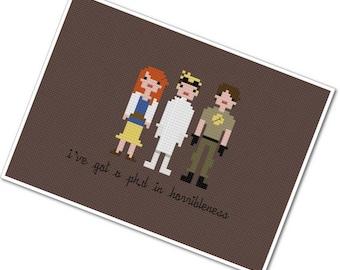 Dr. Horrible's Sing Along Blog - The *Original* Pixel People - PDF Cross-stitch Pattern - INSTANT DOWNLOAD