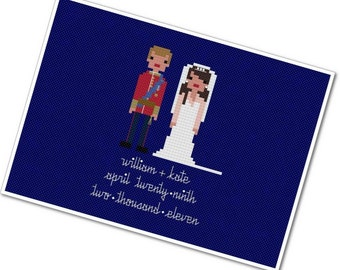 William & Kate - The *Original* Pixel People - PDF Cross Stitch Pattern - INSTANT DOWNLOAD