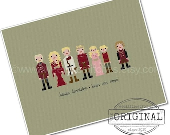 Game of Thrones - The *Original* Pixel People - House Lannister - PDF Cross-stitch PATTERN