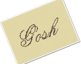 wee little swears - Gosh - PDF Cross Stitch Pattern - INSTANT DOWNLOAD