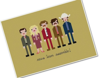 Anchorman - The Legend of Ron Burgundy - The *Original* Pixel People - PDF Cross stitch Pattern - INSTANT DOWNLOAD