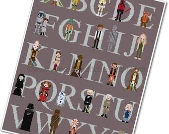 Star Wars Alphabet Sampler - The *Original* Pixel People - PDF Cross-stitch Pattern - INSTANT DOWNLOAD