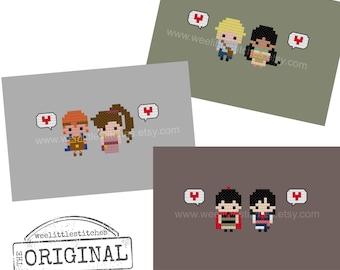 Storybook Romance Collection 3 - Pocahontas, Hercules, Mulan - The *Original* Pixel People Minis - PDF Cross-stitch Pattern