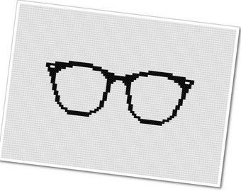Horn Rimmed Glasses - PDF Cross Stitch Pattern - INSTANT DOWNLOAD