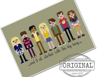 The Big Bang Theory - The *Original* Pixel People - PDF Cross Stitch Pattern - INSTANT DOWNLOAD