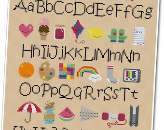 Kawaii Alphabet Sampler Cross-stitch PDF Pattern - INSTANT DOWNLOAD