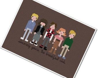 The Breakfast Club - The *Original* Pixel People - PDF Cross Stitch Pattern - INSTANT DOWNLOAD