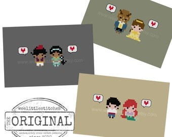Storybook Romance 2 - Beauty & the Beast, Aladdin, Little Mermaid - The *Original* Pixel People Minis - 3 PDF Cross-stitch Patterns