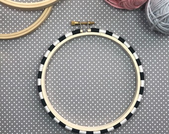 5 Inch Threadwrapped Hoop - Black & White - Embellished Embroidery Hoop - display hoop - embroidery hoop