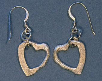 Abstract sterling silver heart earrings