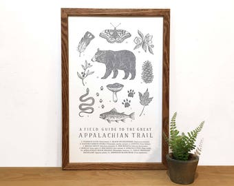 Appalachian Trail Field Guide Letterpress Print | Hiking Wall Art | Educational Science Illustration | Natural History Print