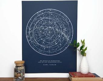 Sagan Star Chart Constellation Print - Navy
