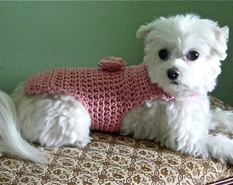 Pink Hand Crochet Dog TSHIRT 100 Percent Cotton