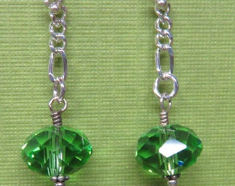 Peridot Earrings - Beautiful Green Peridot Gem-Cut Rondelle Earrings - August Birthstone Earrings