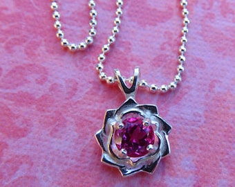 Flower Pendant - Pink Sapphire & Sterling Silver Flower Pendant Necklace - Beautiful Dainty Necklace
