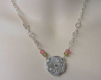 Chocolate Diamond & Tourmaline Necklace - Sterling Silver Necklace - Hand Cast and Designed by Pat