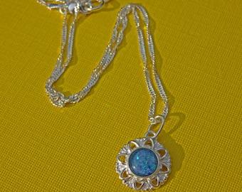 Opal Necklace - Australian Opal Triplet & Sterling Silver Necklace - 8mm Blue Opal Triplet