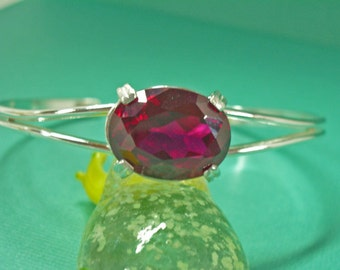Ruby Cuff Bracelet - Ruby and Sterling Silver Cuff Bracelet - Adjustable Bracelet