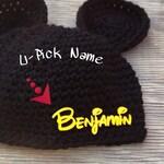 Newborn Baby Toddler Boys Girls 3D Custom Name Disney Mickey Mouse Hat Ears Beanie Disneyland Photo Prop Handmade