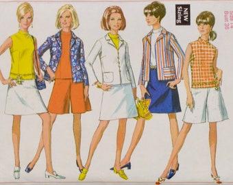 1960s ladies Mod Suit sewing pattern Simplicity 7485 UNCUT FF 36-27-38 | scooter wear jacket blouse a-line skirt shorts culottes pantskirt