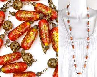 "1920s art glass necklace 38"" long   Venetian lampworked gold foil orange beads   flapper rope length art deco murano vintage 30s brass chain"