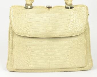 1960s large cream mock croc vinyl handbag   vintage large ivory purse    top handle grab day bag pockets alligator crocodile vegan mod 60s