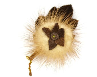 Mink flower brooch   blonde real fur with brown suede centre and velvet leaf c1950s-60s   vintage sweater pin leather