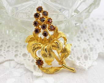 50s 60s exotic flower or fruit brooch with dark amber rhinestones | large naturalistic floral brown gold tone pin Mid Century sweater pin