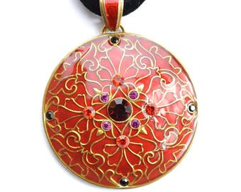 Large red jewelled enamel pendant on black velvet choker. Gold tone filigree. Adjustable 80s vintage medallion necklace goth witch talisman