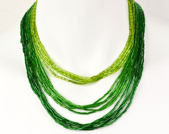 50s-60s multi strand bugle bead green ombre necklace NOS statement bib waterfall vintage deadstock