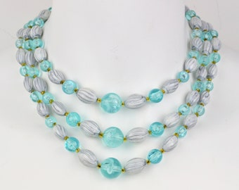 50s-60s triple strand turquoise graduated bead necklace NOS adjustable Hong Kong stamp blue grey gold tone statement bib vintage deadstock