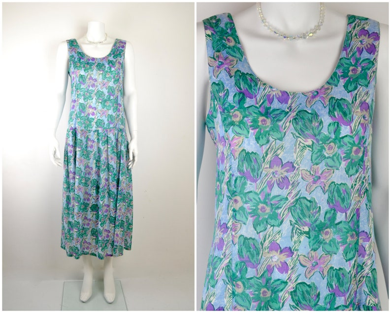 1980s Anokhi dress with drop waist in fine cotton floral print image 0