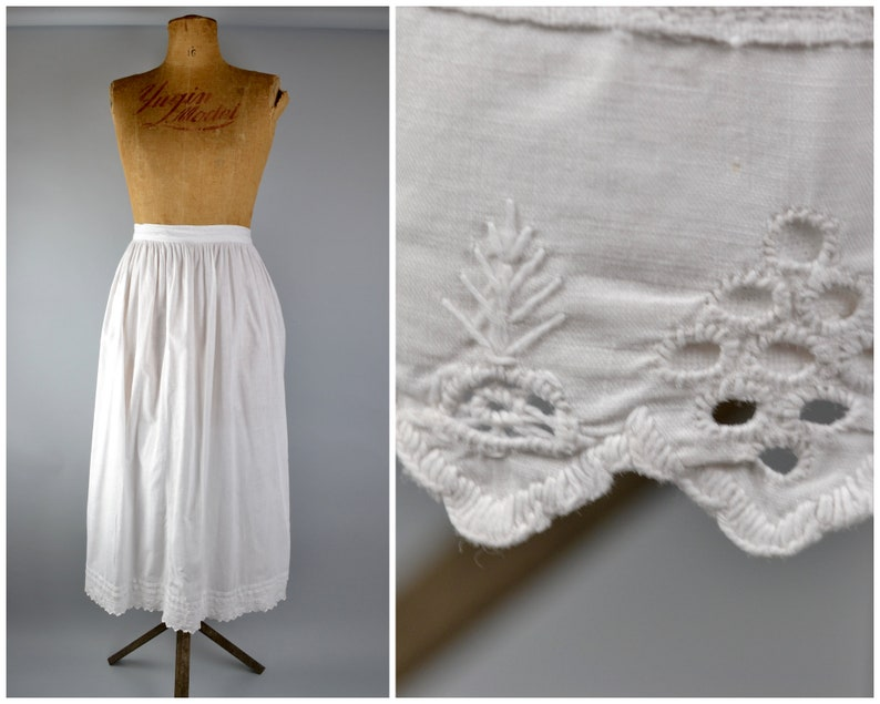 Victorian linen petticoat with pintucks and broderie anglaise image 0