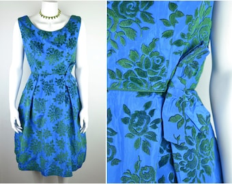 """50s flocked taffeta cocktail dress by Blanes B38"""" W27""""   deep sky blue + green roses with bow detail   vintage 1950s early 60s evening party"""