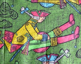 4+5 yards 60s novelty print Baron Munchausen Everfast Fabrics Inc cotton sateen fabric Mid Century 18th Century Soldier green 50s whimsical