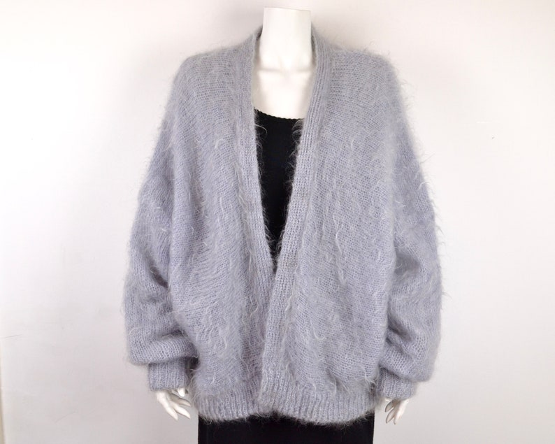 80s cocoon cardigan  oversized coatigan hand knit in grey image 0