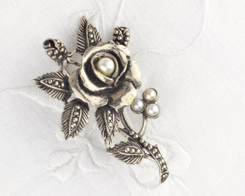 1950s rose brooch with faux pearls  silver tone floral roses image 0