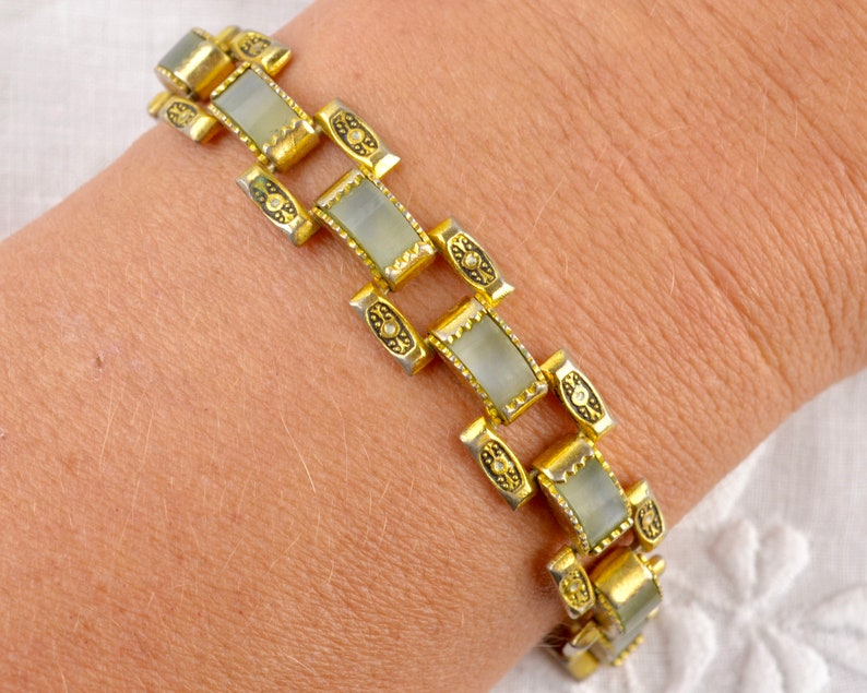 Lucite and Toledo metalwork bracelet  gold tone links with image 0