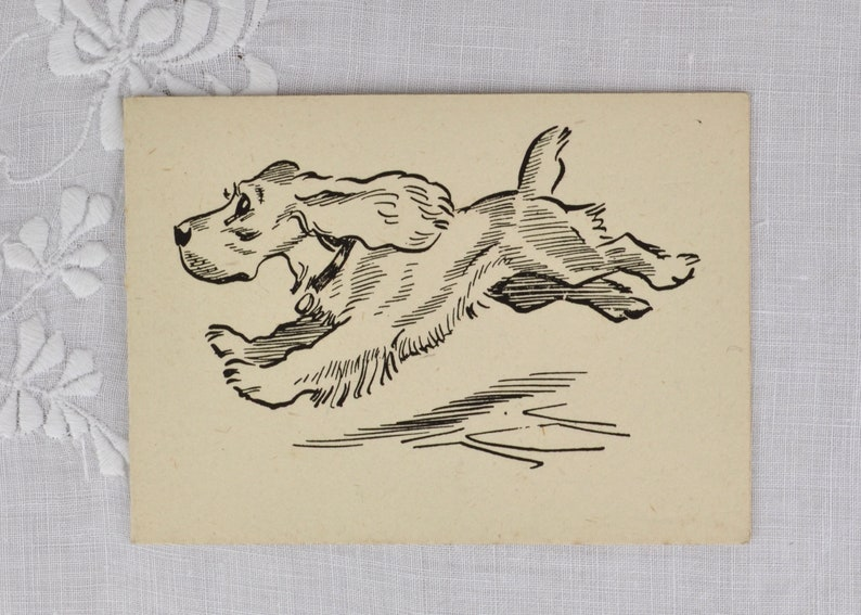 Vintage Christmas card c1950s with dog illustration  spaniel image 0