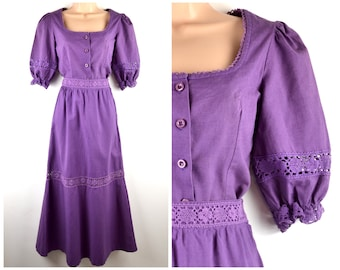 70s purple cotton blouse and tiered skirt set XS-S crochet lace inserts | romantic hippy boho outfit puff sleeve button front top dress