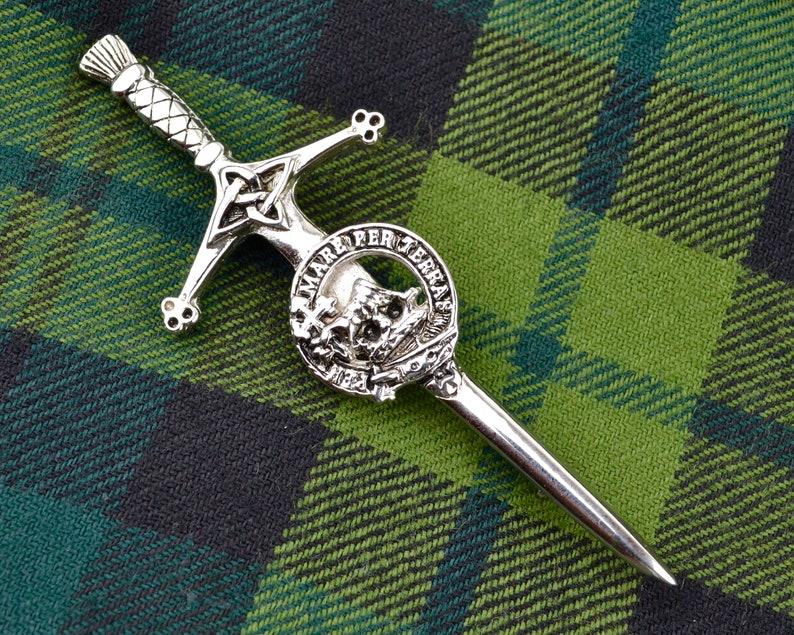 Scottish kilt or sash pin Clan MacDonald  Celtic knot sword image 0
