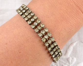 1950s-60s diamante bracelet | 3 row white clear rhinestone silver tone chain adjustable bracelet vintage bling