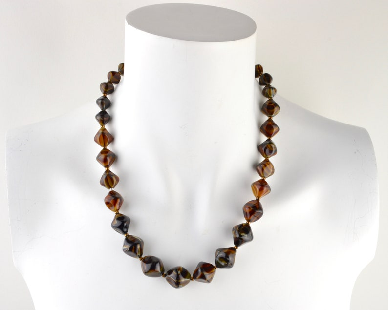1970s chunky art glass necklace faux tigers eye  graduated image 0