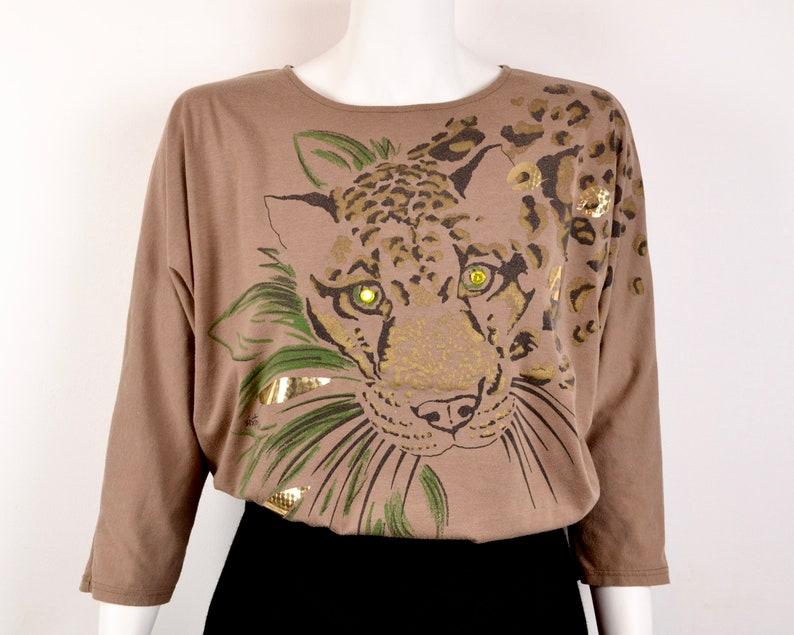 80s batwing sleeve embellished t-shirt Size L leopard jaguar image 0