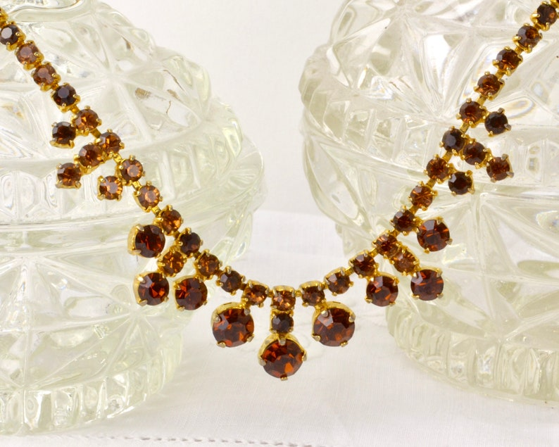 Vintage amber rhinestone necklace  gold tone brown diamante image 0