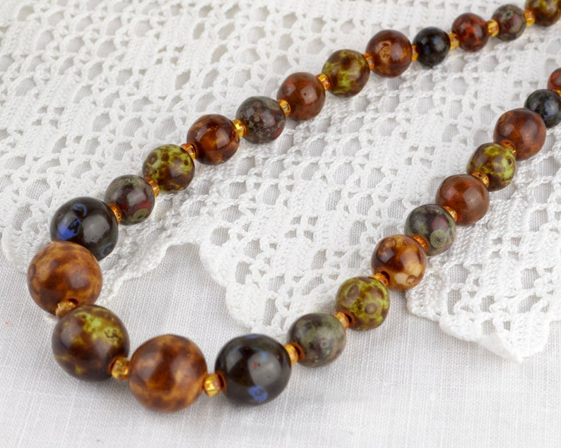 1970s art glass vintage graduated bead necklace  60s-70s faux image 0