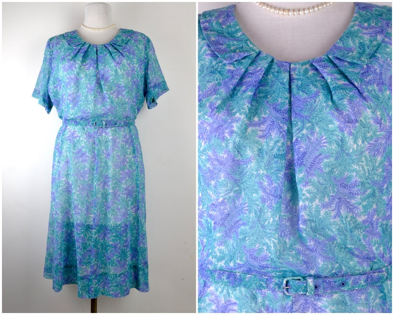 Plus Size 50s 60s dress B49 W40 XXXL 2X 3X sheer cotton voile image 0