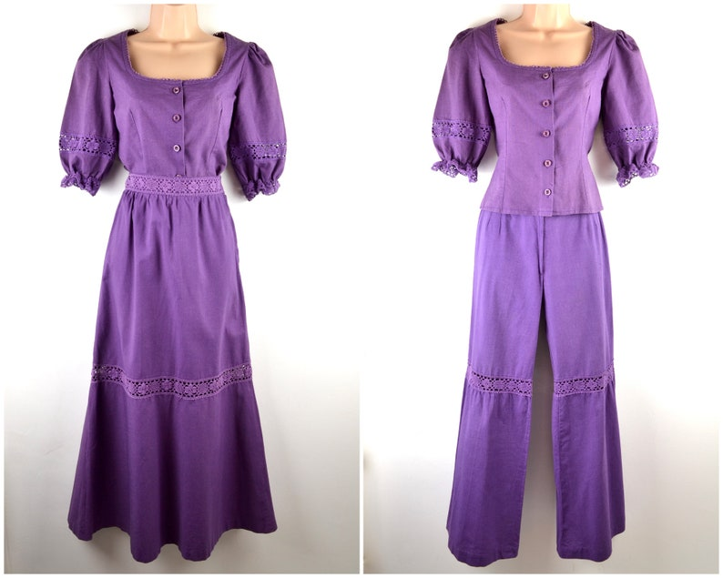70s purple cotton set  blouse skirt trousers XS-S  crochet image 0