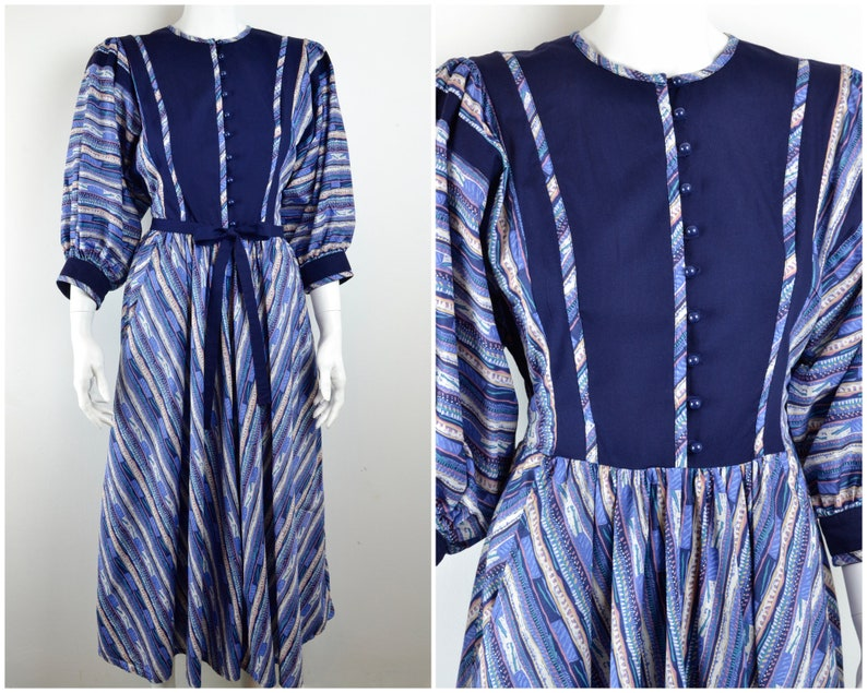 Cotton peasant dress in ethnic print Size S XS  1970s-80s image 0